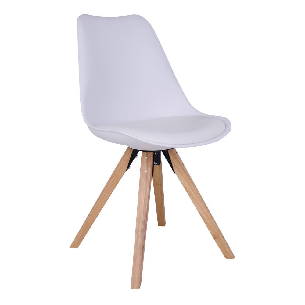 Bergen Spisebordsstol i hvid med naturtræsben