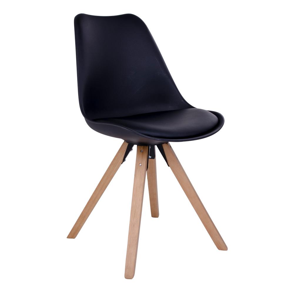 Bergen Spisebordsstol i sort med naturtræsben