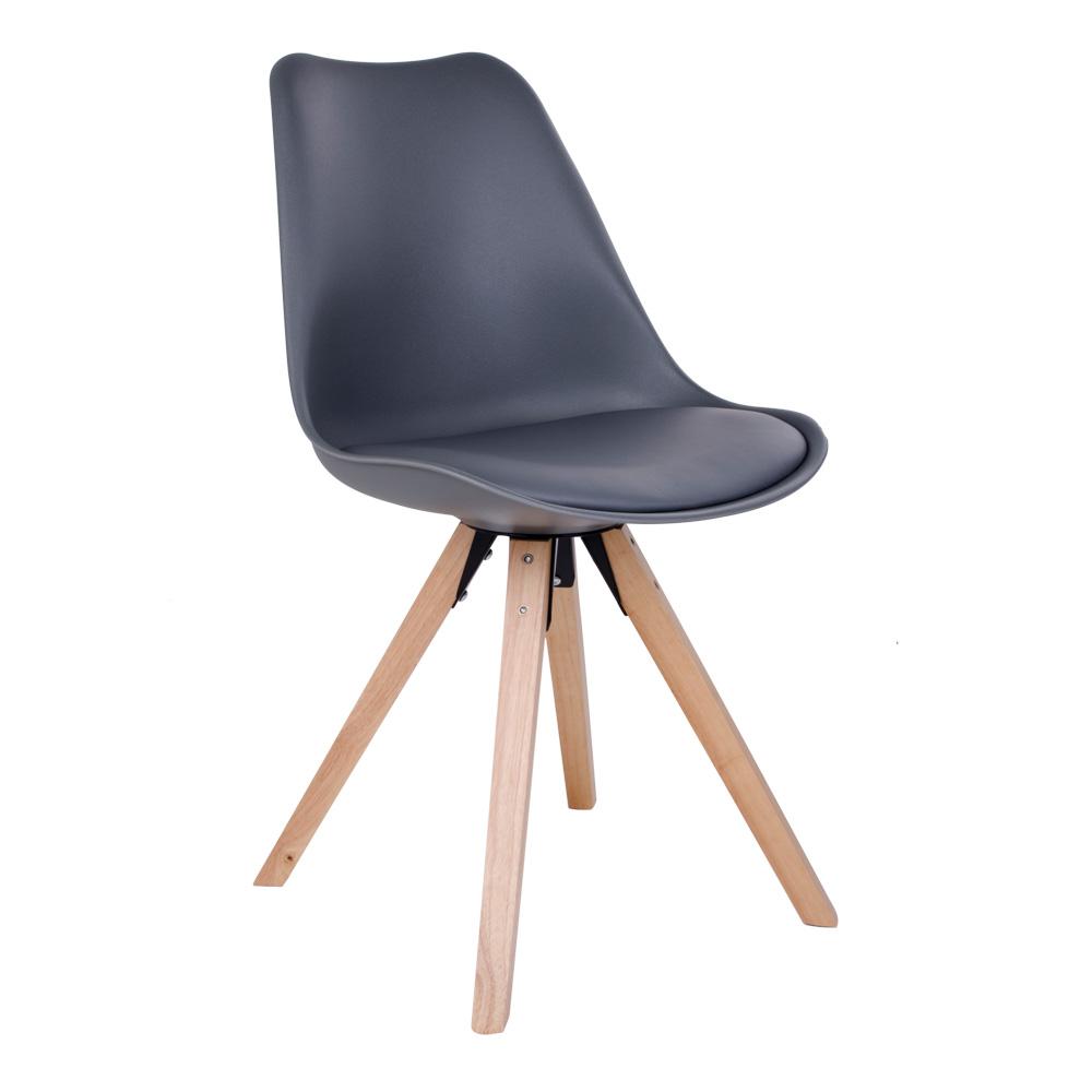 Bergen Spisebordsstol i grå med naturtræsben