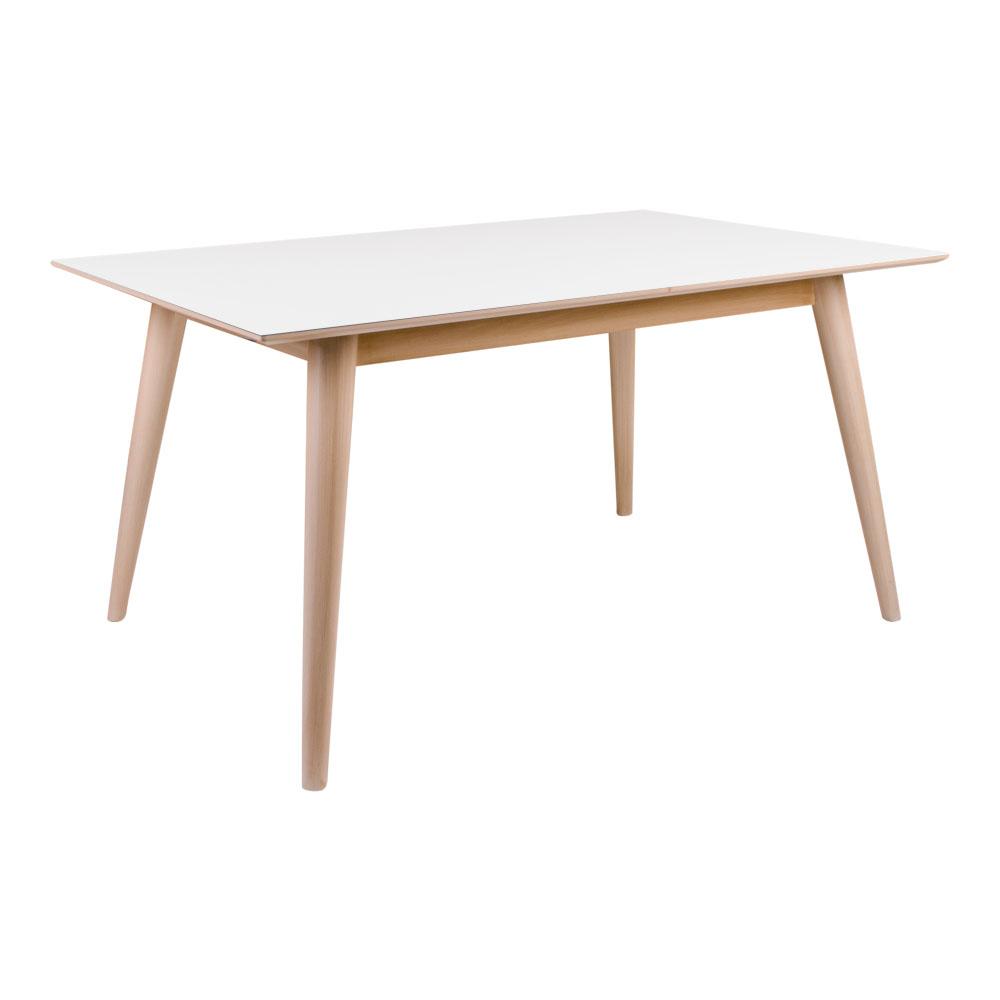 Copenhagen Spisebord i hvid med natur ben 150x95