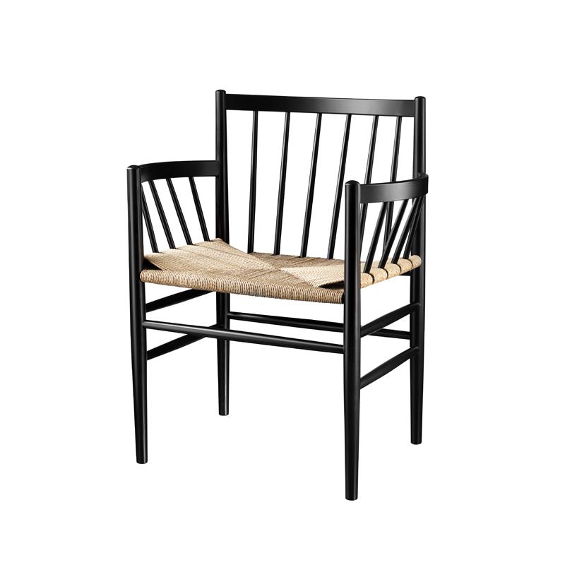 FDB Møbler - J81 Spisebordstol m/armlæn - Sort/natur FDB Møbler