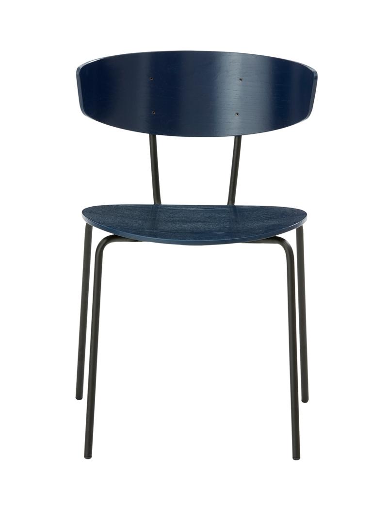 Ferm - Herman Chair - Spisebordsstol Blå eikefinér ferm LIVING