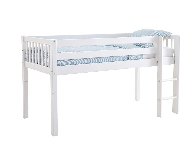 FLEXA - Nordic Halvhøj Seng m/sengehest og stige 90x200 - Hvid FLEXA