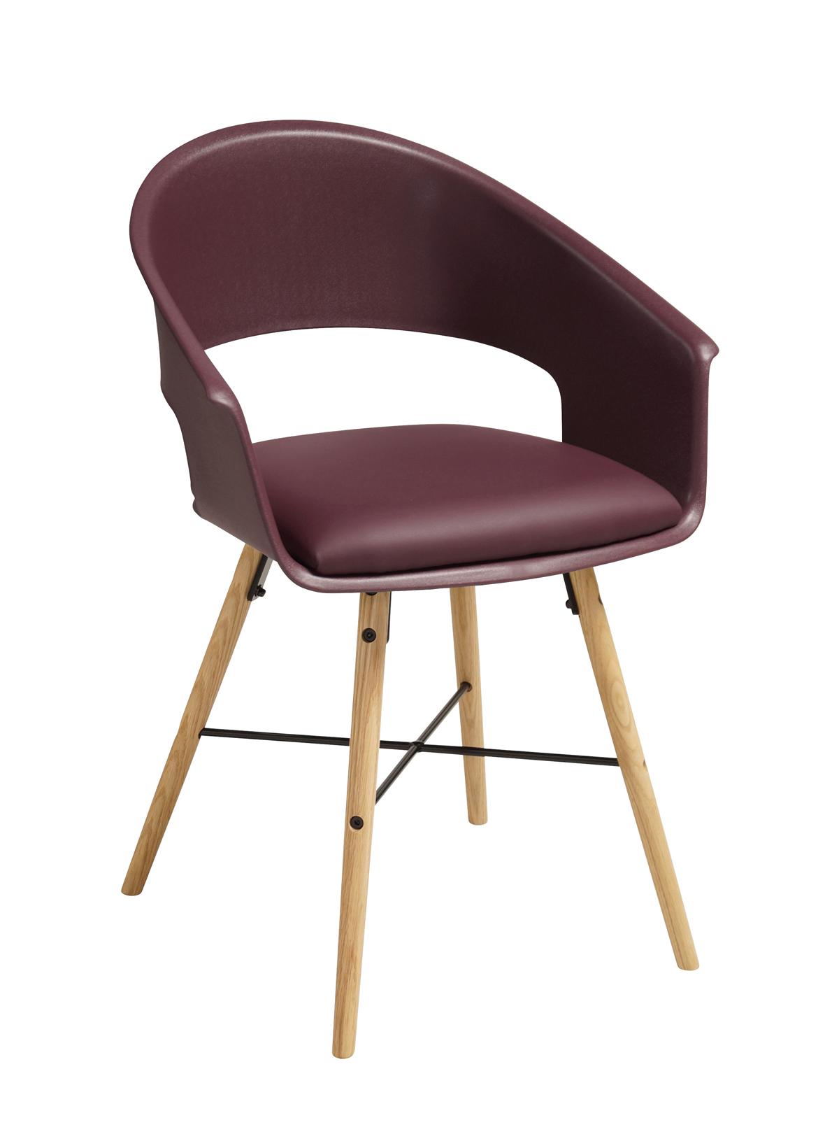 Ivar 10 Spisebordsstol m. burgundy red sæde - Natur