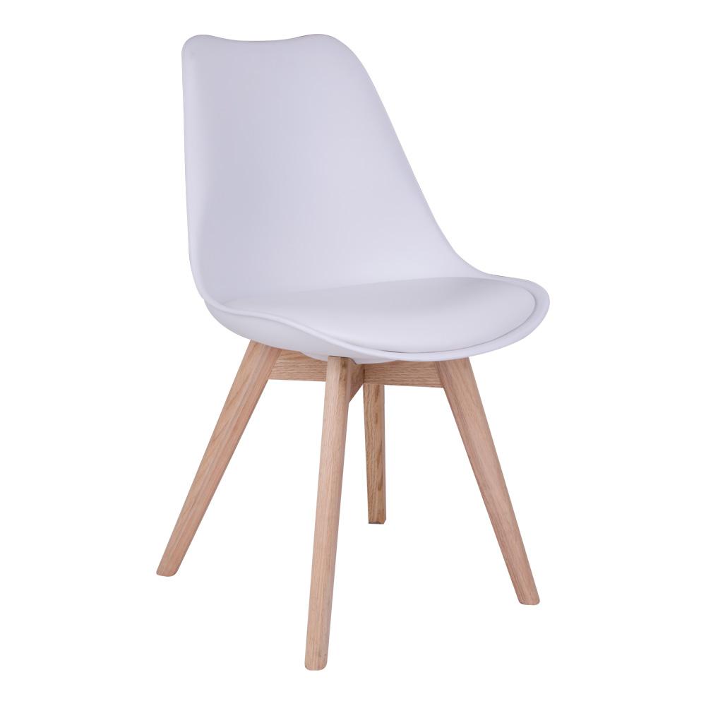 Molde Spisebordsstol i hvid med naturtræsben