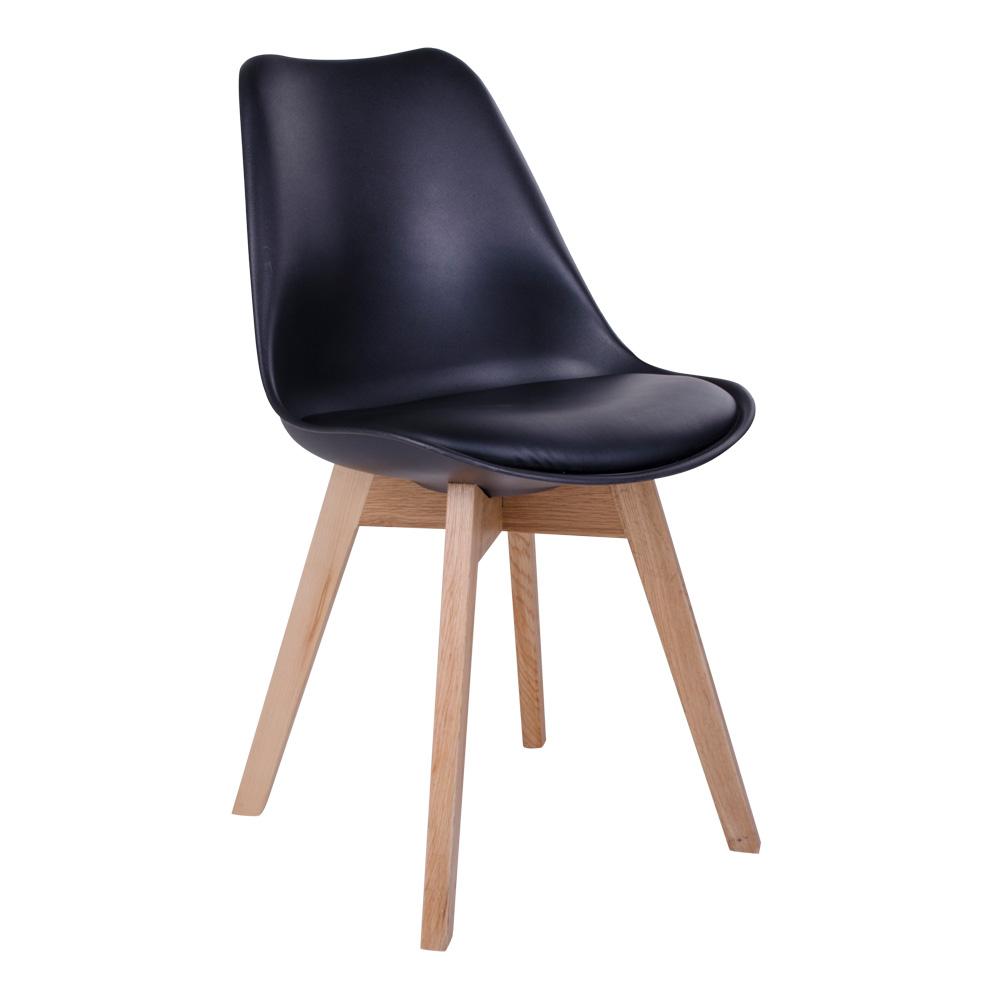 Molde Spisebordsstol i sort med naturtræsben