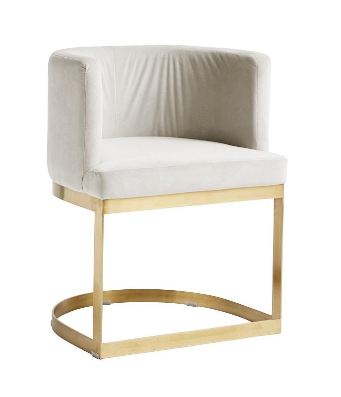 Nordal - Lounge Spisebordsstol - Cremehvit velour Nordal