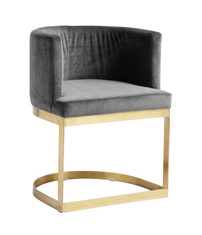 Nordal - Lounge Spisebordsstol - Grå velour Nordal