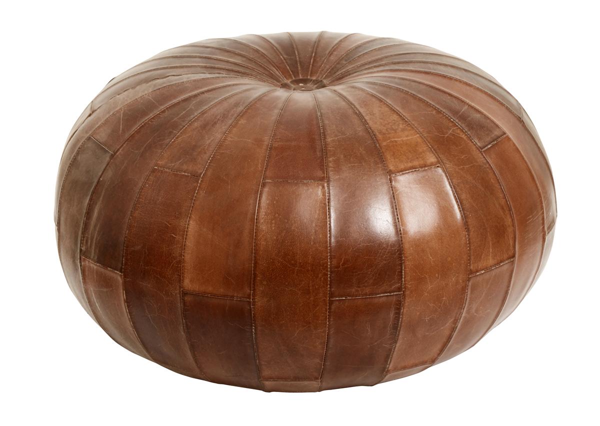 Nordal - Puf i læder - Antik brun Nordal