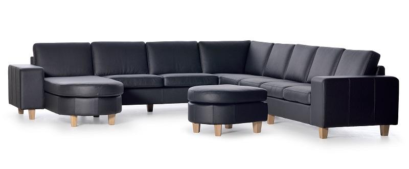 Nordic-C - Hjørnesofa med chaiselong og puf - Sort læder Nordic-C