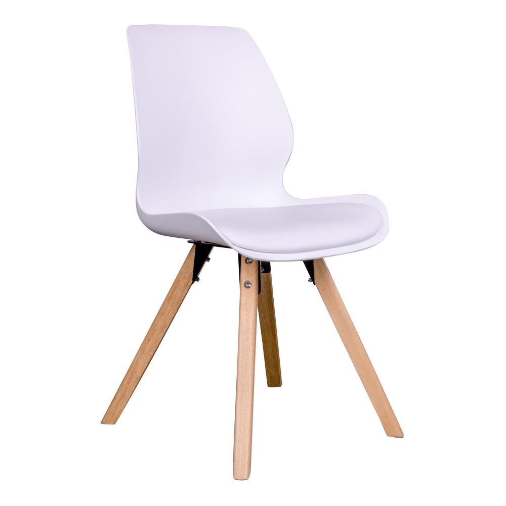 Rana Spisebordsstol i hvid med naturtræsben