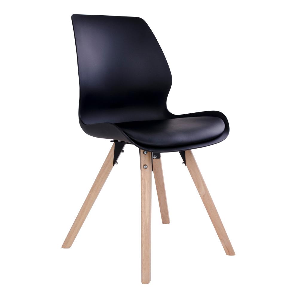 Rana Spisebordsstol i sort med naturtræsben