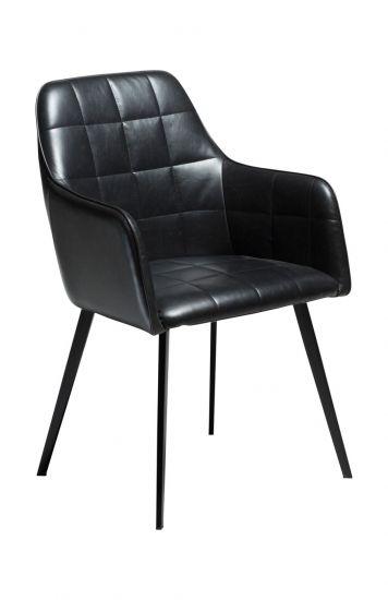 DAN-FORM - Embrace Spisebordsstol, vintage svart kunstskinn, svarte ben