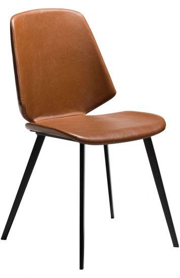 DAN-FORM - Swing Spisebordsstol, vintage lysebrun kunstskinn, svarte ben
