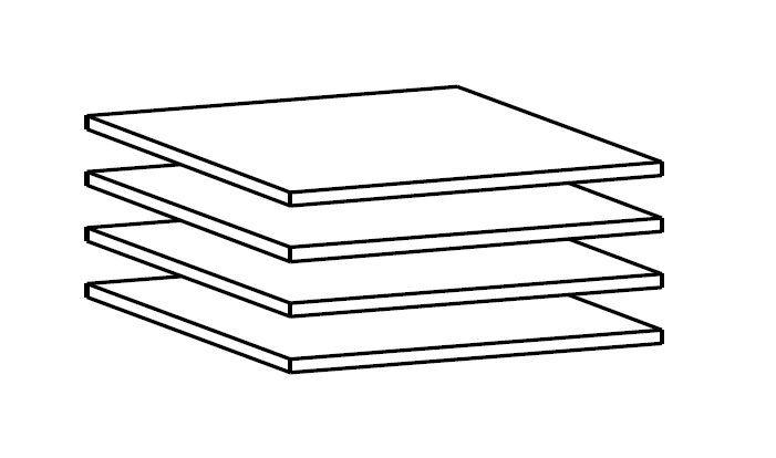 Designa - Hyller 4 stk - Hvit - B:46,6