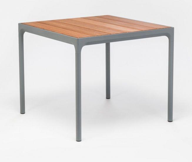 HOUE - FOUR Hagebord 90x90 - Mørk grå/Bambus