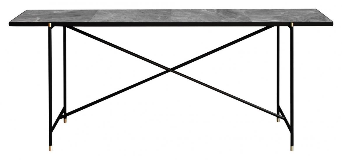 HANDVÄRK - Konsolbord 184x46 m. messing detaljer - Grå marmor