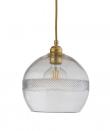Ebb&Flow - Check mini stripe Krystall Rowan pendel m. Gull Ø22