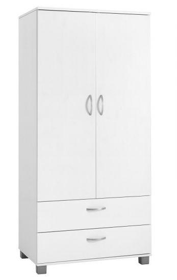 FLEXA - Nordic garderobeskap m/2 skuffer og dører - Hvit