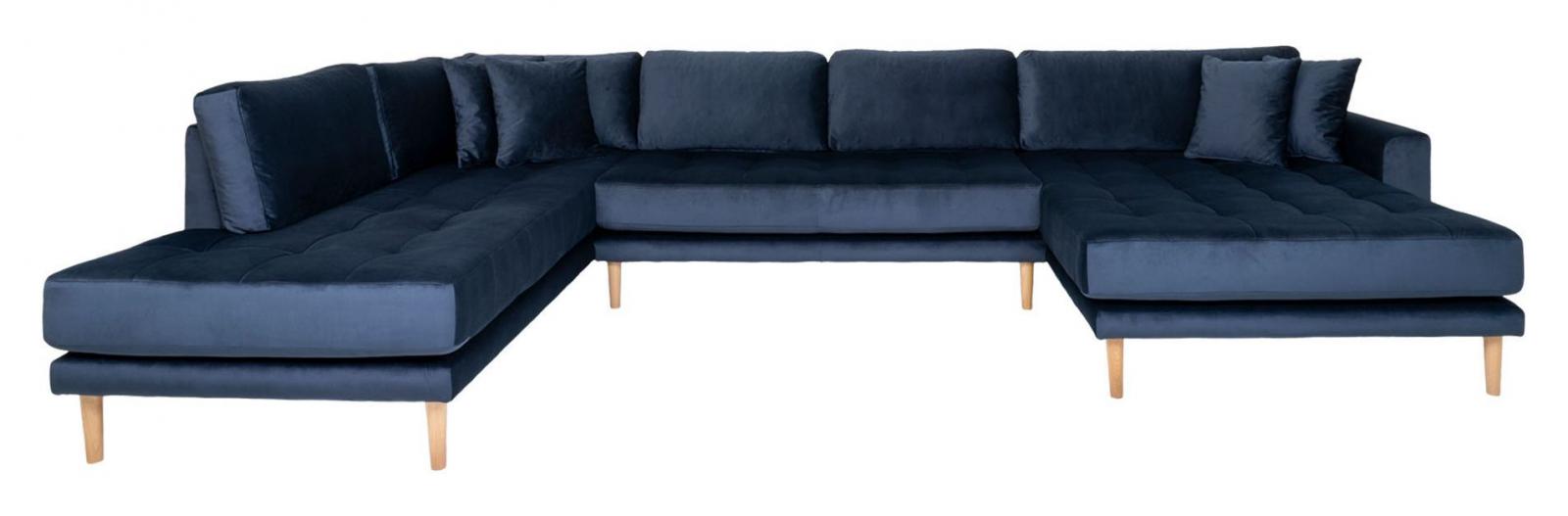 Lido U-sofa m, Åpen ende Høyrevendt - Mørkeblå