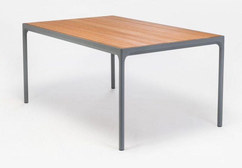 HOUE - FOUR Hagebord 160x90 - Mørk grå/Bambus