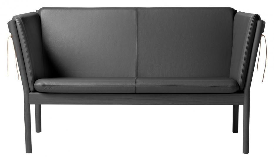 FDB Møbler J148 2-pers, Sofa - Sort Eik/Sort Skinn