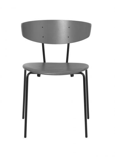 Ferm Living - Herman Spisebordsstol m. læder - Warm Grey/Sort