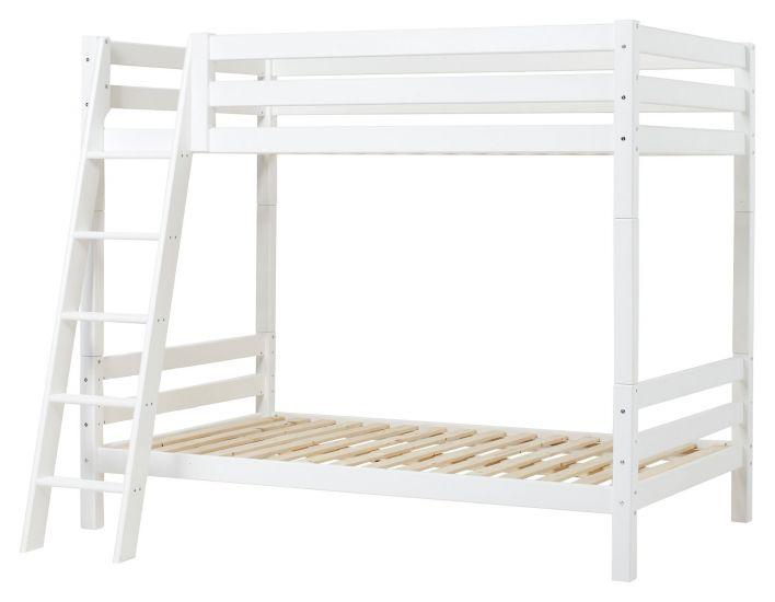 Hoppekids Premium Køyeseng m. skrå stige, Hvit, 120x200