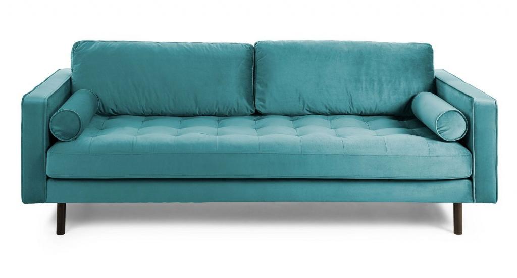 Kave Home Bogart 2-seter Sofa - Turkis Velur