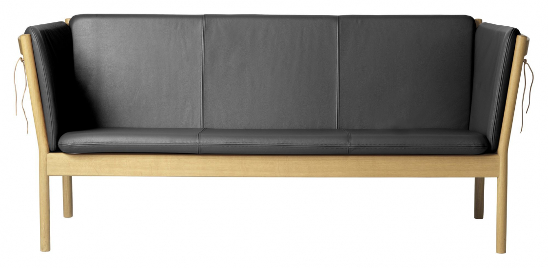 FDB Møbler J149 3-pers, Sofa - Eik/Sort Skinn