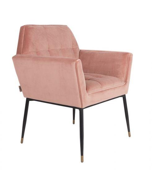 Dutchbone - Kate Spisebordsstol m/armlen - Pink clay
