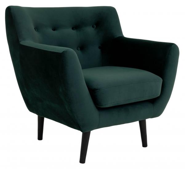 Monte Lenestol - Mørkegrønn Velour/Sorte Ben