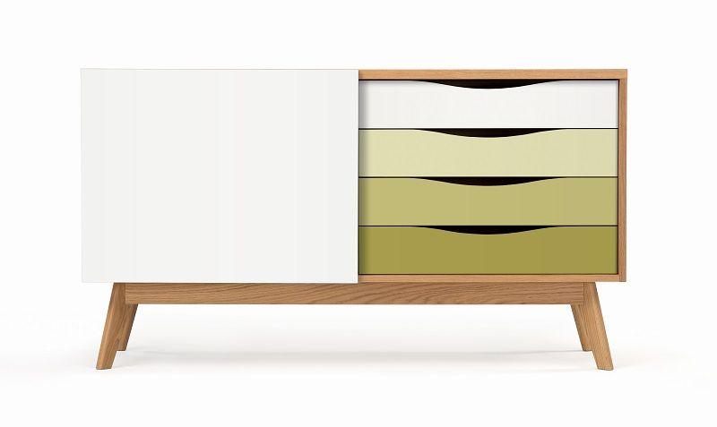 Woodman - Avon Skjenk m/fargede skuffer - Olive