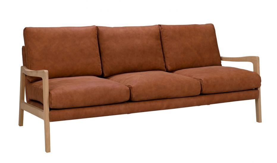 Solo 3-pers. Sofa m. ege ben - Oransje Skinn