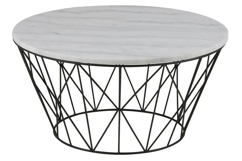Robert Sofabord Ø80 - Hvit Guangxi marmor