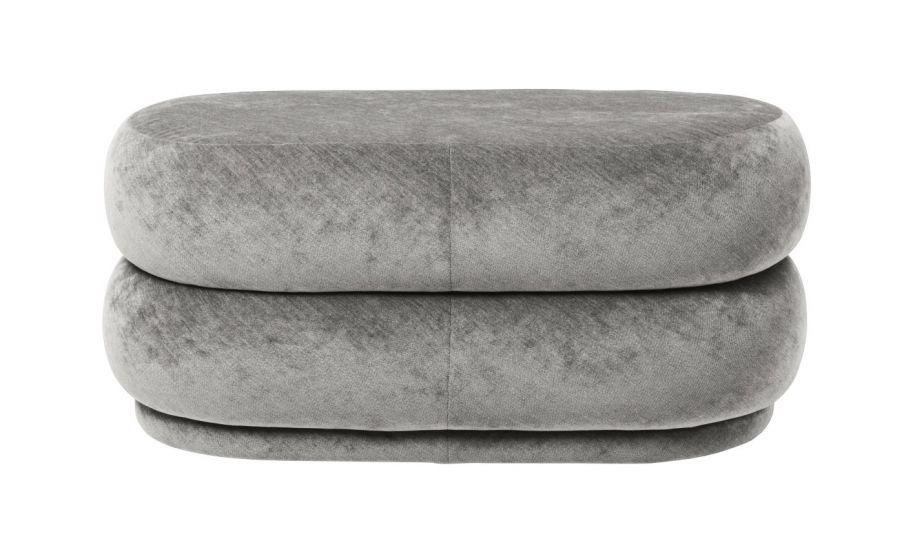 Ferm Living - Pouf Oval - Faded concrete velour - Medium
