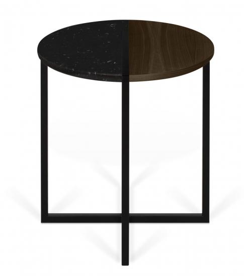 Temahome Sonata Sidebord - Sort Marmor/Brun, Ø50