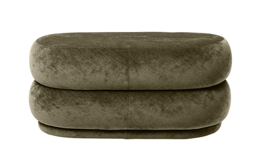 Ferm Living - Pouf Oval - Faded forest velour - Medium