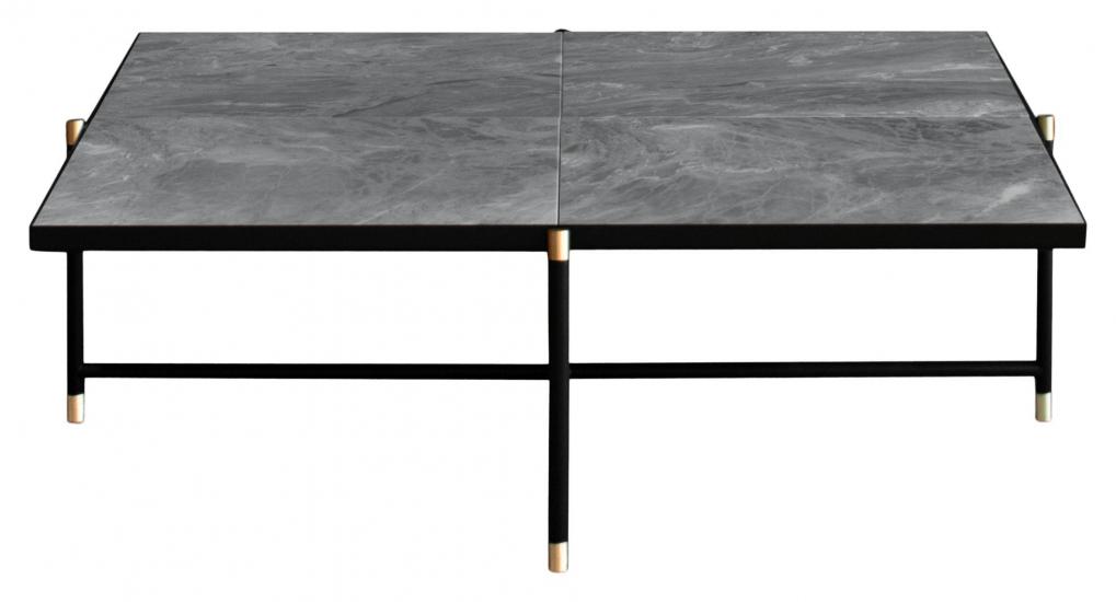 HANDVÄRK - Sofabord 92x92 m. messing detaljer - Grå marmor