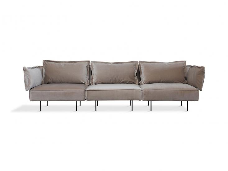 HANDVÄRK - Modular 3-pers. Sofa - Sandfarvet velour