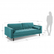 Kave Home Bogart 3-seter Sofa - Turkis Velur