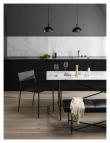 HANDVÄRK - Spisebord - Hvit Marmor m/svart ramme - 96x184