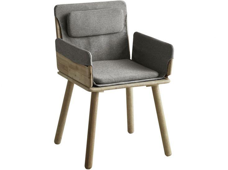 Jack Spisebordsstol m. armlæn - Grå/Natur