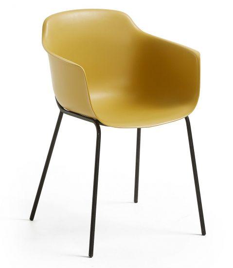 Kave Home - Khasumi Spisebordsstol i plast - Mustard
