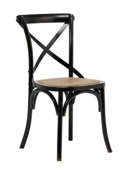 Vintage Spisebordsstol m. Rattan sete - Natur/Svart