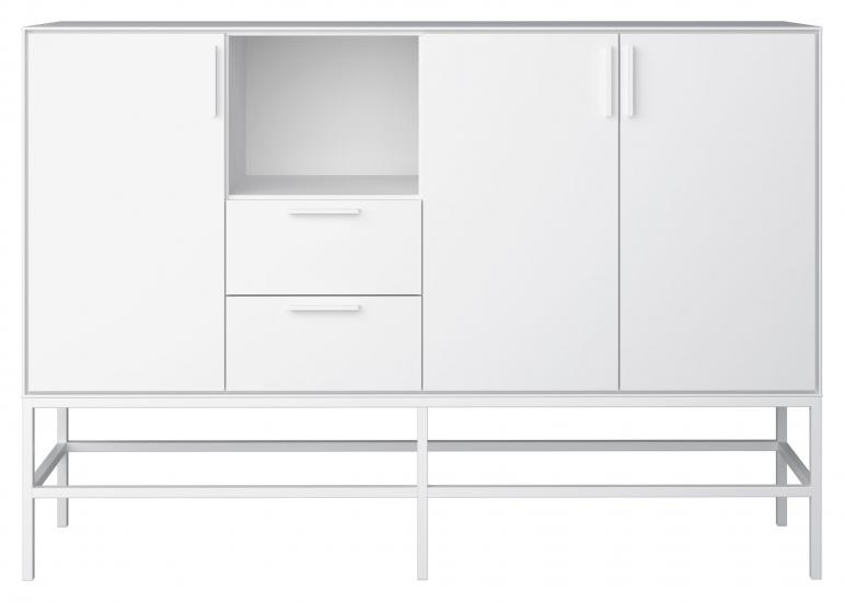 Slimline Sideboard med 3 dører + 2 skuffer, Hvit, Hvit