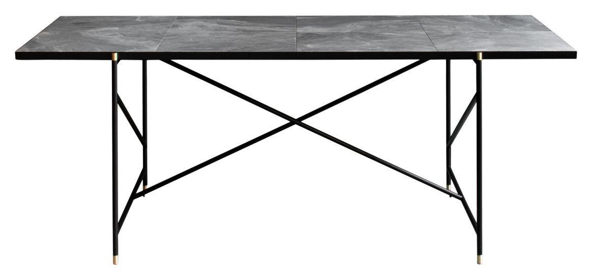 HANDVÄRK Spisebord 184x96 m. messing detaljer - Grå marmor