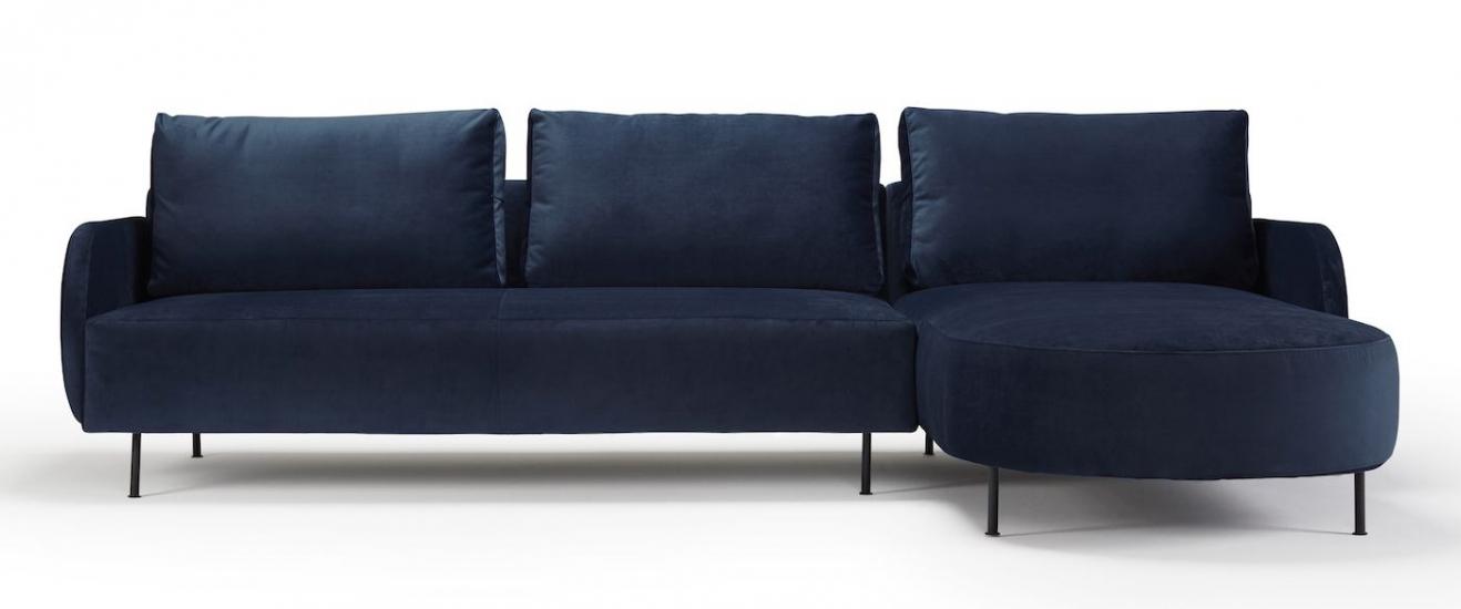 Kragelund Askov Round Sofa, høyre sjeselong Blå Velur, Metall