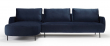 Kragelund Askov Round Sofa, venstre sjeselong Blå Velur, Metall