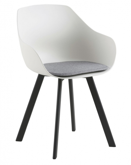 Tina Spisebordsstol m. lysegrå pute - Hvit/Svart